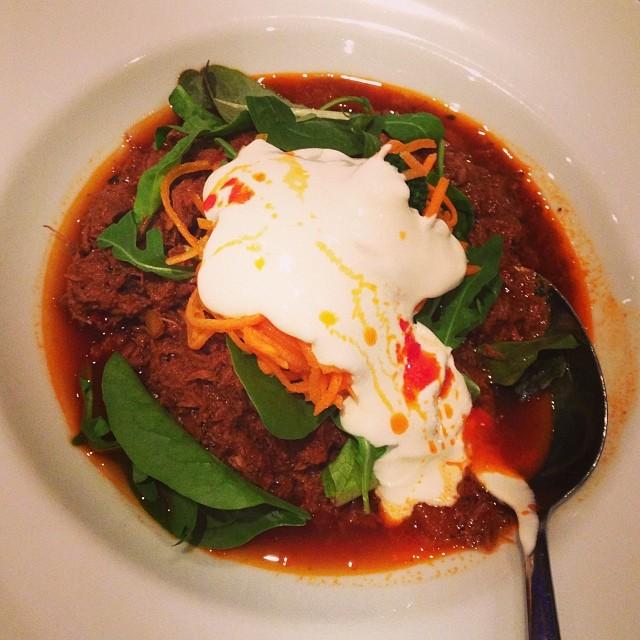 Lchf-chiligryta till lunch på Södra Sällskapet. Här serveras det en lchf-rätt varje dag... Är det fler restauranger som gör så? #lchf #lchf10veckor