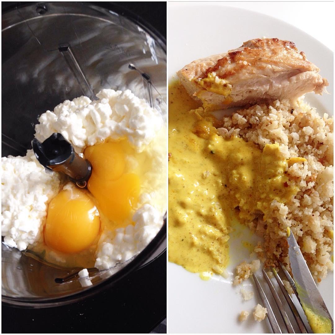 Kesoplättar till lunch och kyckling, blomkålsris och currysås till middag
